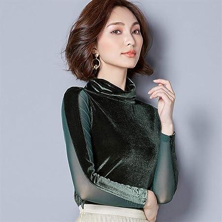 Dumai Camisa Blusas de Terciopelo de Encaje Blusa de Mujer Camisa de Moda Blusa de Manga Larga Cuello Alto Vintage Patchwork Blusas Mujer Tallas Grandes 3XL (Color : Green, Size : XL):
