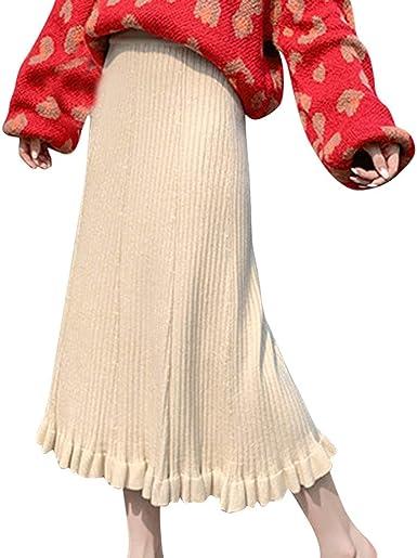 Sylar Falda Larga Plisada para Mujer Faldas De Punto Color Sólido ...
