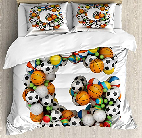 Interhear Letter G 4 Piece Bedding Printed Duvet Cover Set Full, Luxury Soft Brushed Microfiber for Hotel/Bedroom, Athletic Theme Concept Youthful Teenager Boys Girls Activity Font for Sports Fans -