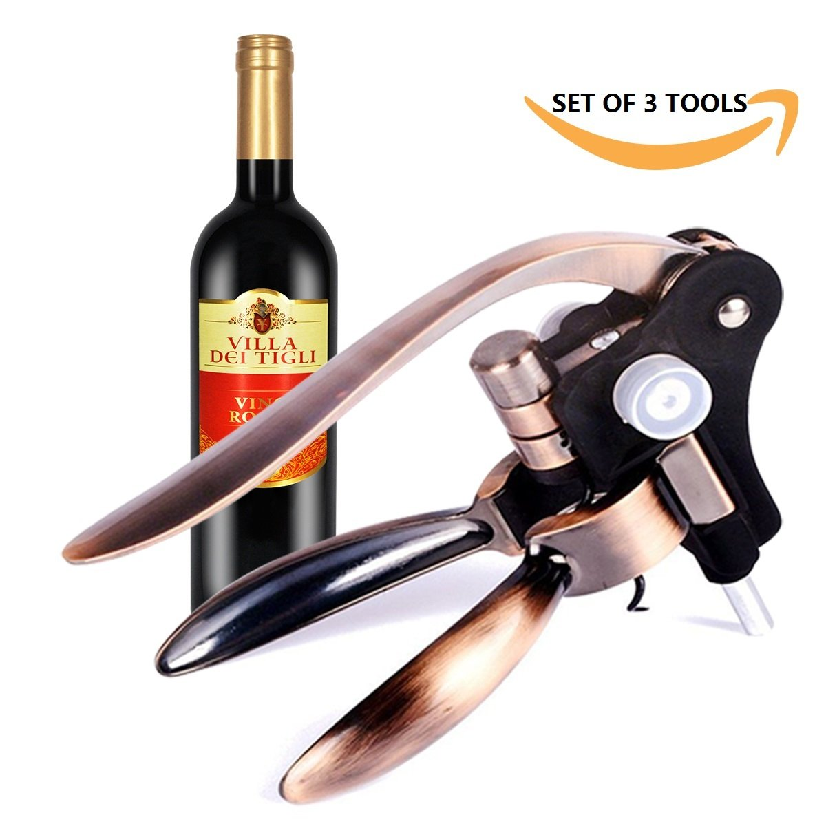 Home Servz Rabbit Wine Opener Corkscrew Durable Bottle Opener - Easy To Use Wine Accessory - Foil Cutter & Replaceable Drill (set of 3 Tools)