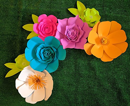 Bright Multicolor Paper Flowers Combo Set for Backdrops - Includes 7 Paper Flowers and 3 Pairs of Paper Leaves - Fully Assembled - Ready to Use