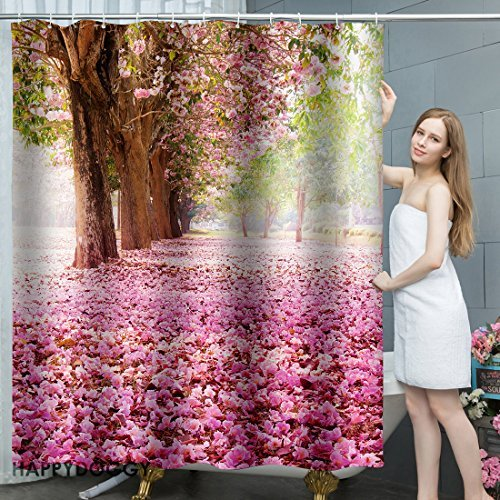 Blossom Tree Shower Curtain Pink, 72 by 80 inches, Bathroom Mildew Resistant Waterproof Anti Bacterial Polyester Fabric Curtains Hooks Set 49D print Home Decor Bath Accessories Collection