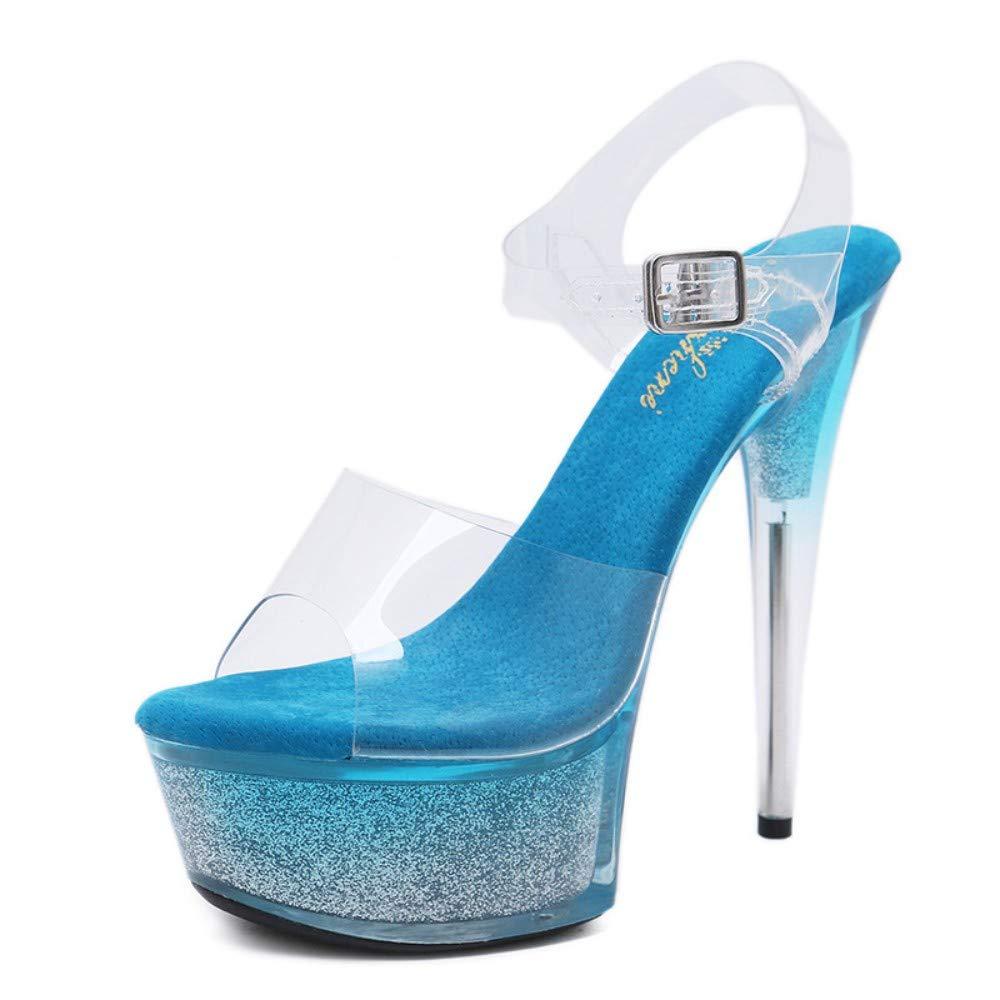 Damen High Heels Heels Heels Sandaletten Mit Fersenriemen, Bequeme Plattform, Blau Transparent 15 cm Sexy Elegante Damen Open Toe Stiletto Schuhe Für Summer Party Show Hochzeit B07QCL1MFM Tanzschuhe Britisches Temperament 465ee0