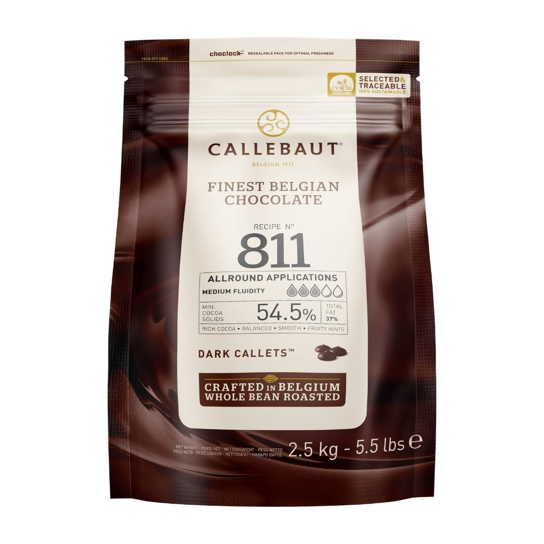 Callebaut Belgian Dark Couverture Chocolate Semisweet Callets, 54.5% - 5.5 Lbs