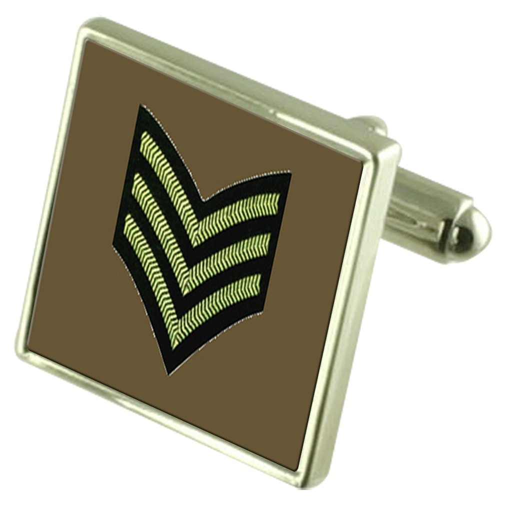Select Gifts Army Insignia Rank Sergeant Sterling Silver Cufflinks Optional Engraved Box