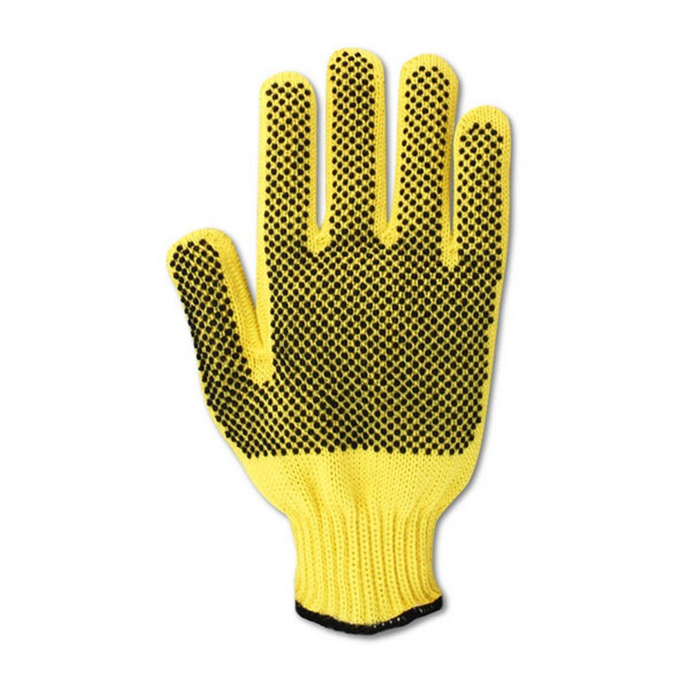 Magid Glove & Safety 590KVTPR-9 Magid Cut Master 590KVTPR Kevlar Ambidextrous Dotted Knit Gloves - Cut Level 4, Men's (Fits Large), Orange Yellow, 9 (Pack of 12)