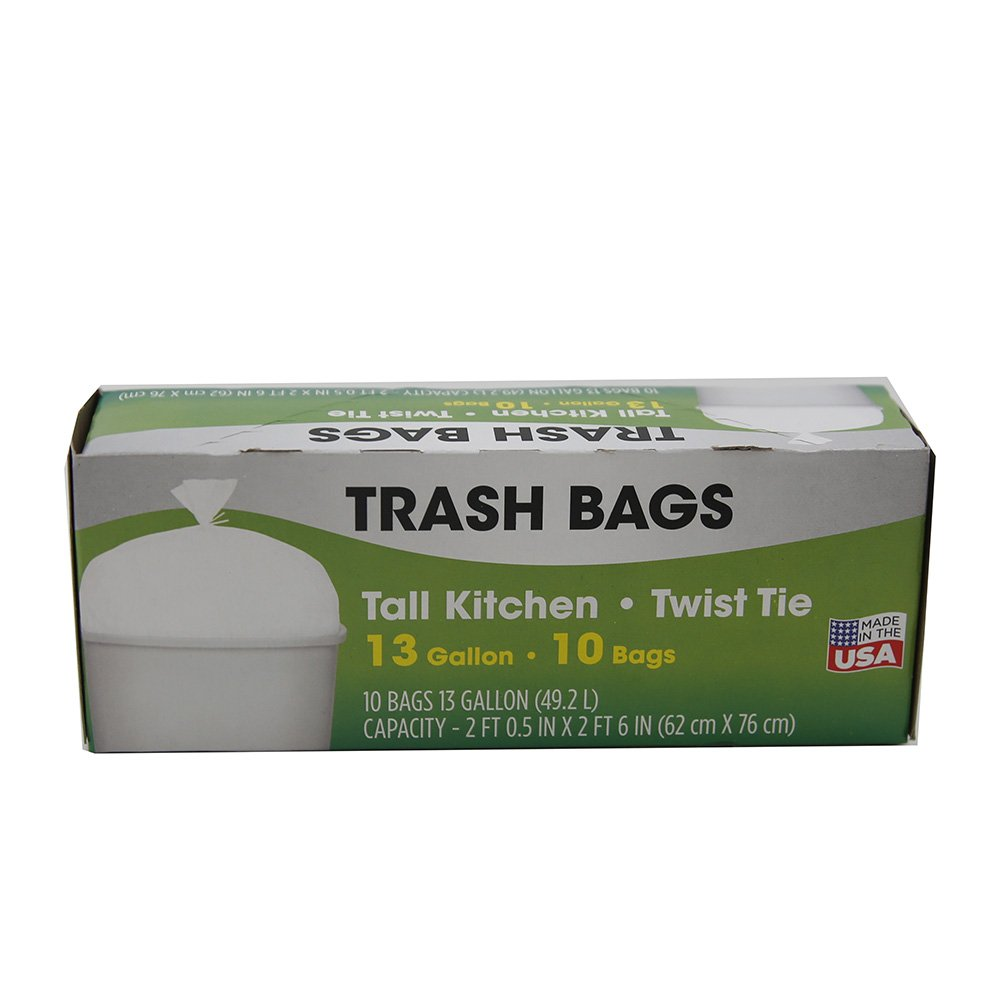 (10 Pack) Tall Kitchen 13-Gallon Trash Garbage Bags (100 Count)