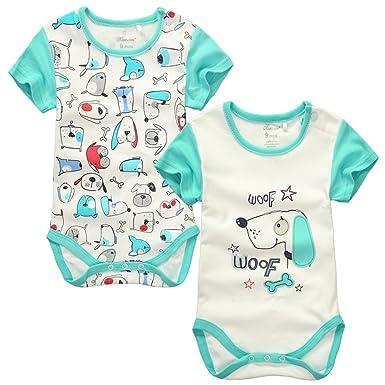 2f644c1b6596 Amazon.com  Mum scare Baby Short Sleeve Cotton Bodysuit 2-Pack  Clothing