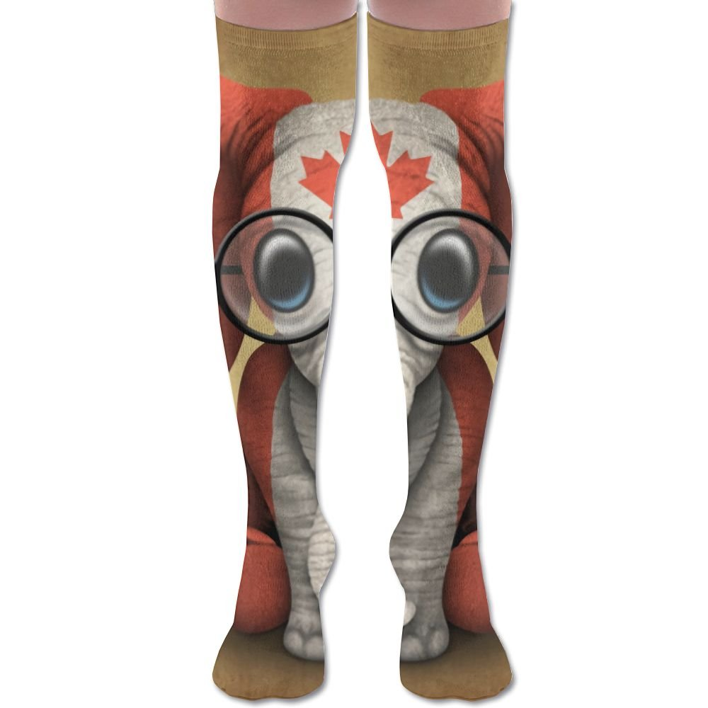 YISHOW Baby Elephant Glasses Canadian Flag Women's Fashion Over The Knee High Socks (60cm)