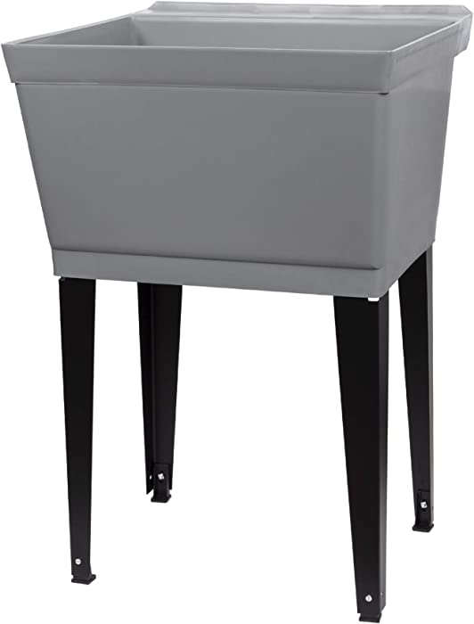 19 Gallon Utility Sink Laundry Tub by JS Jackson Supplies with Adjustable Metal Legs, Ideal for Laundry room, Basement, or Garage Workshop. Heavy Duty Shop Sink. No Faucet Included (Grey)