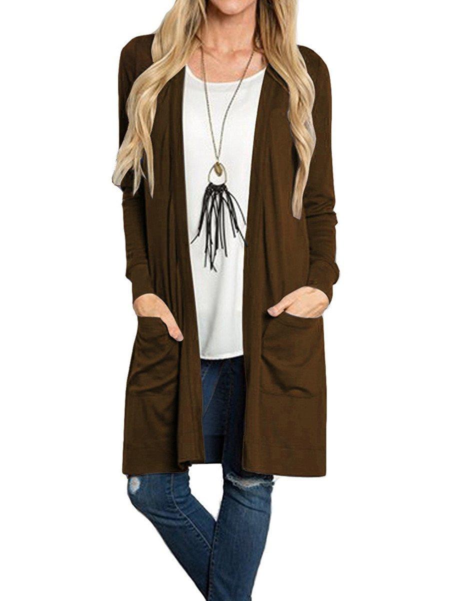 Tribear Women's Long Sleeve Open Front Loose Causal Lightweight Kimono Cardigan (Large, Coffee)