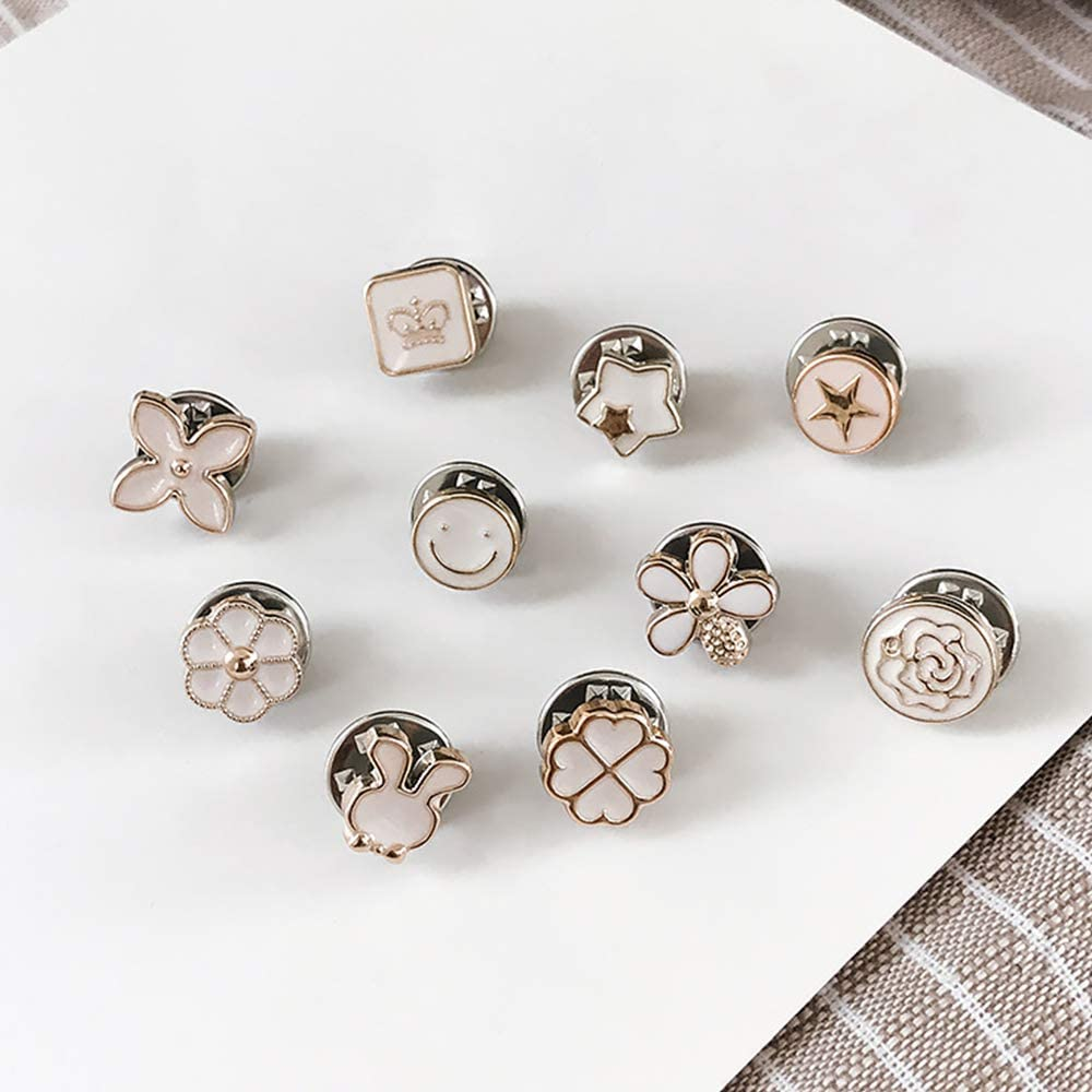 Sparkly Rhinestone Brooch Buttons Morenitor 10Pcs Silver Plated Fashion Decoration Prevent Accidental Exposure Buttons Brooch Pins Badge Gifts for Women Girls