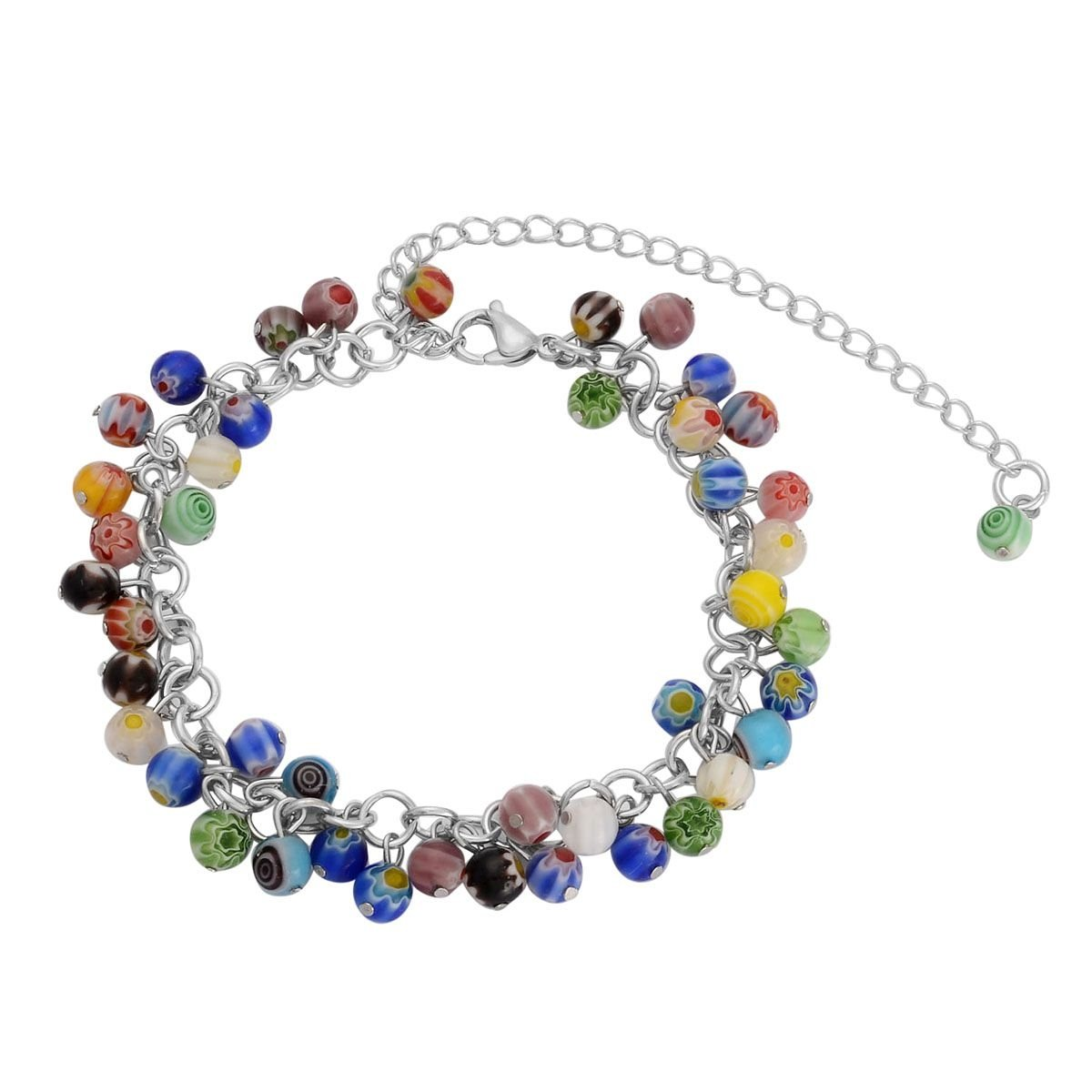 Shop LC Stainless Steel Round, Beads Glass Anklet for Women 9''