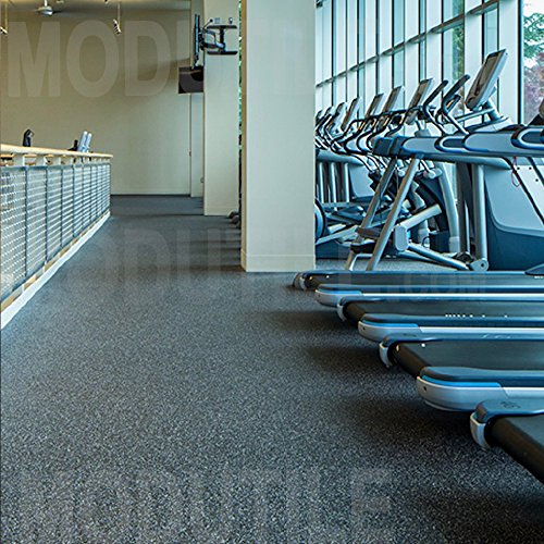 8mm Pre-Cut Rubber Gym Flooring Rolls Non-Slip Equipment & Protective Flooring (1 Roll (4 ft x 25 ft), Blue/Gray)