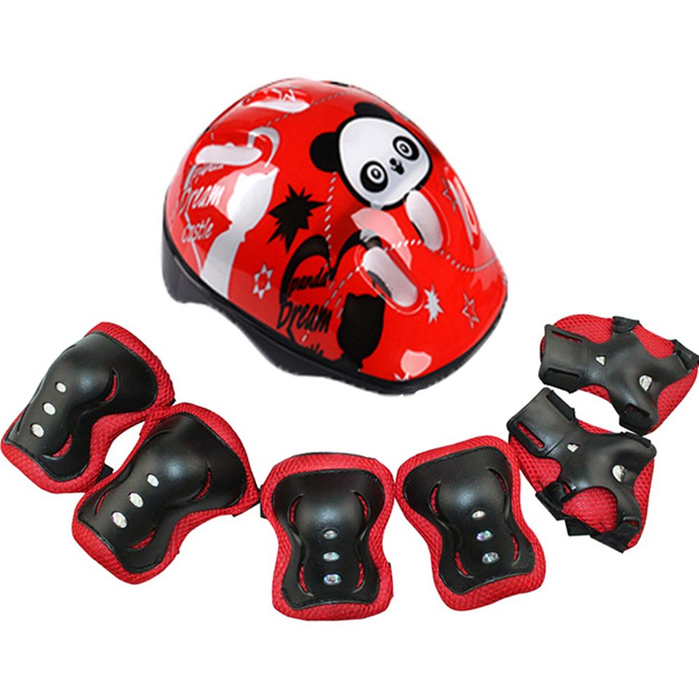 7Pcs Childrens Sports Safety Adjustable Helmet Knee Elbow Pads Wrist Guards Set for Skateboard Skating Cycling and Stunt Scooter Yooha Kids Helmet Protective Gear Set