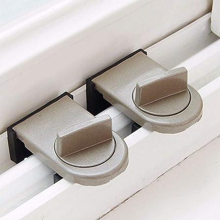Cerradura de la ventana Tope Cerradura de la hoja ajustable Cerradura de seguridad para niños Cerraduras de la puerta corrediza Cubierta de goma con revestimiento de goma Tapón de la corredera Cierre: