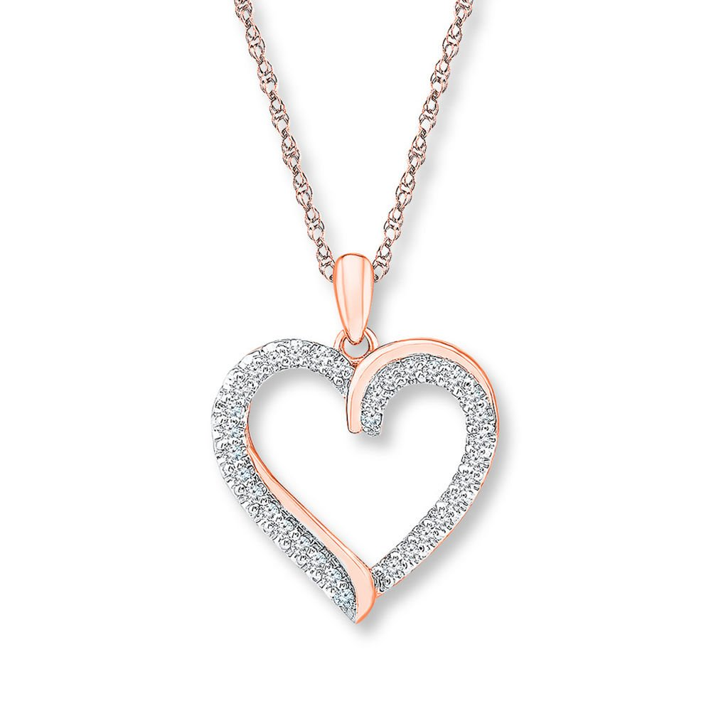 tusakha Valentine/'s Day Love Gift Heart Diamond Heart Necklace 1//4 ct tw Round-Cut 925 Sterling Silver