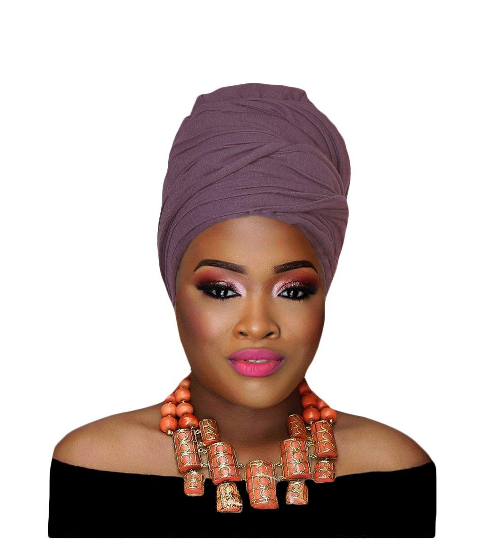 Hana's Women's Stretch Turban Head Wrap Hair Jersey Knit Scarf Tie (One Size, Sand)