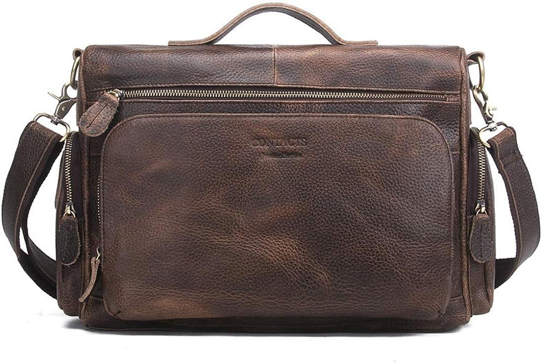 Abiliyy Mens Multiple Pocket Messenger Shoulder Bag Vintage Leather Briefcase Crossbody Day Bag for School and Work