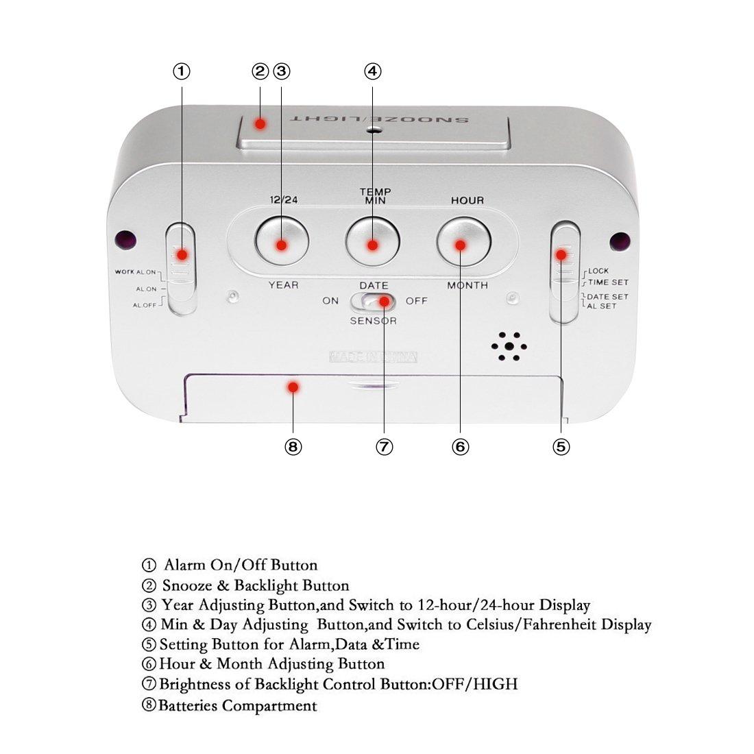 oweisong multifunción LCD reloj despertador digital con temperatura calendario función de repetición para escritorio mesa: Amazon.es: Electrónica