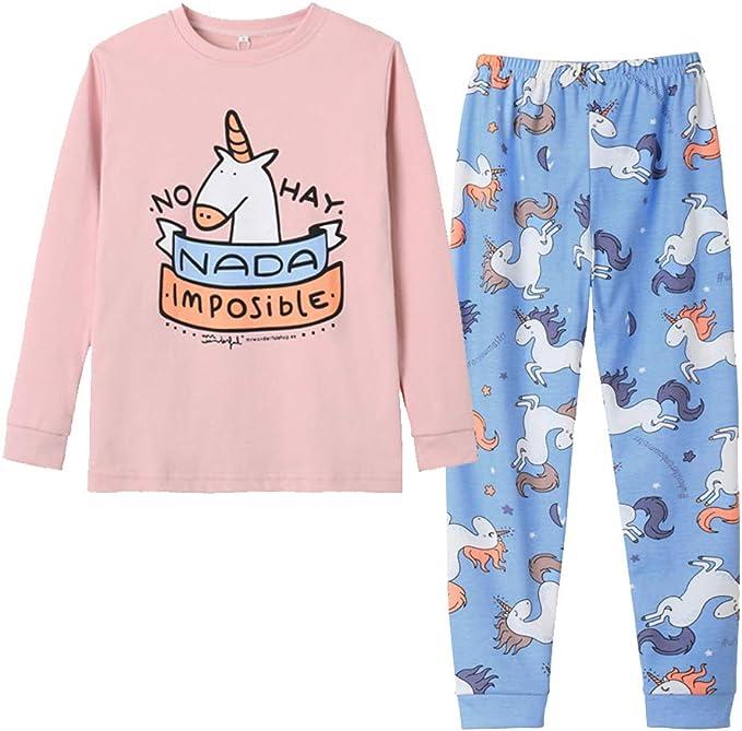 Girls Cute Print Snug Fit Long /& Short Sleeve Pajama With Pants Sleepwear Set
