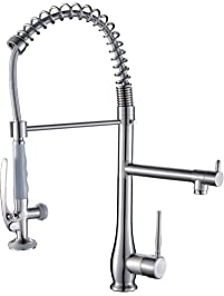 FLG Commercial Style Single Handle Pull Down Kitchen Sink Faucet With Lock  Sprayer,Brushed Nickel