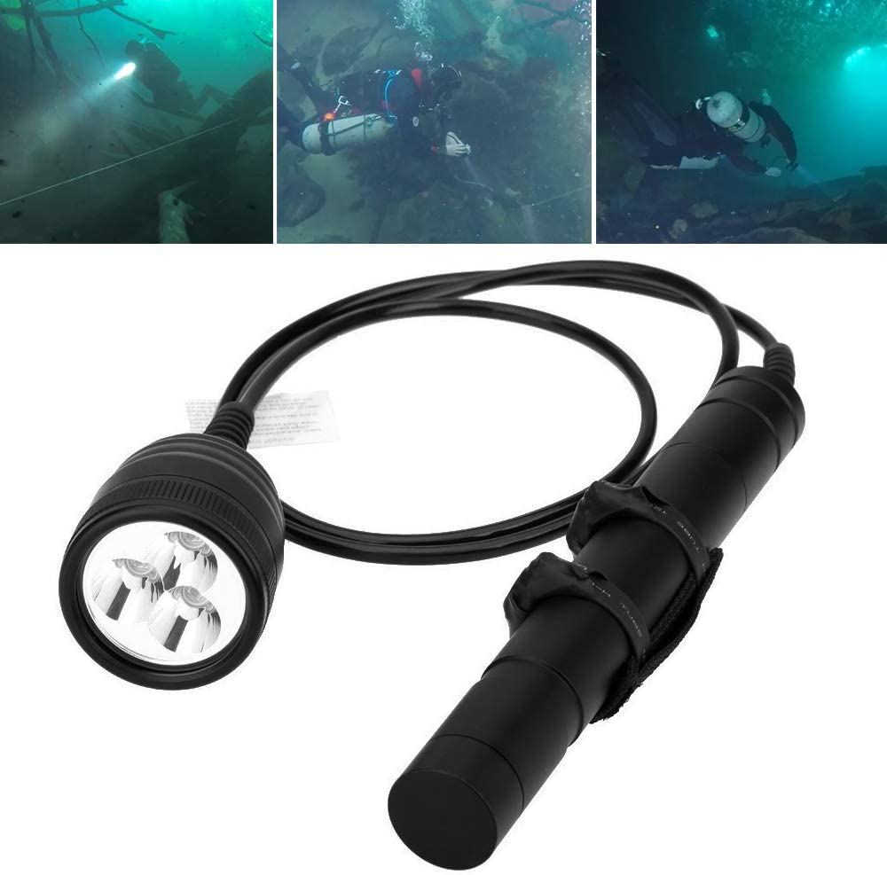 SecurityIng 3000LM Primary Canister Dive Light, 3X Cree XM-L2 LED Scuba Diving Flashlight Underwater 492Ft Torch for Professional Diving/Cave Diving/Underwater Photography(Batteries Not Included)
