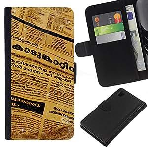 Sony Xperia Z1 L39 C6902 C6903 C6906 C6916 C6943 , la tarjeta de Crédito Slots PU Funda de cuero Monedero caso cubierta de piel ( Newspaper Thai Language Letters Text Art)