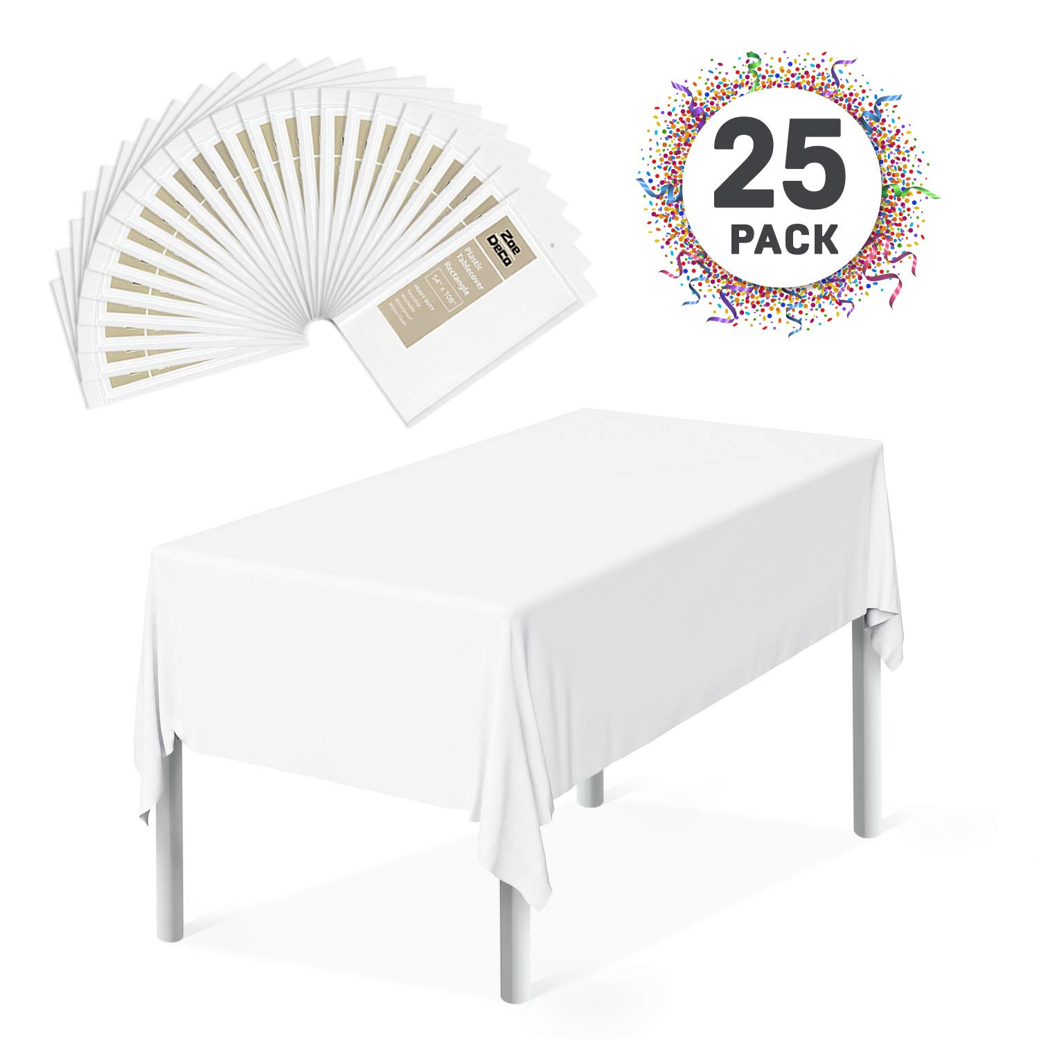 Zoe Deco Plastic Tablecloth (25 Pack, Rectangular 54'' x 108'', White), Disposable Table Covers for Parties, Graduations, and Picnics by Zoe Deco