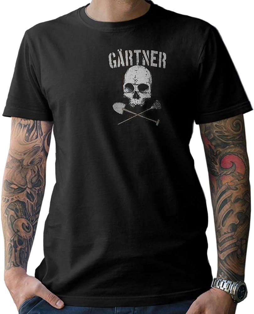 NG articlezz Camiseta Hombre – Jardinero Calavera - de Culto Camisa Manga Corta para la Gartenliebhaber Debajo Euch Talla S - XXXXXL - con Frontal y Dibujo en la Espalda - Negro/Negro,