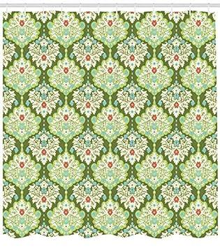 ABAKUHAUS Shabby Chic Cortina de Baño, Estilo Victoriano Barroco Figuras Florales Inspiración Rococó Diseño Estampa