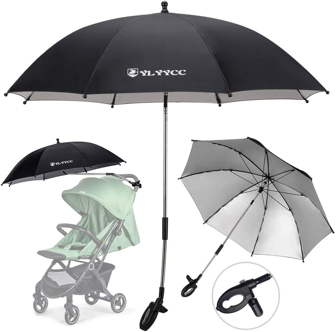 YLYYCC Baby Stroller Sunshade/Stroller Umbrella/Uv Protection Umbrella 360 Degrees Adjustable Direction Stroller Accessories