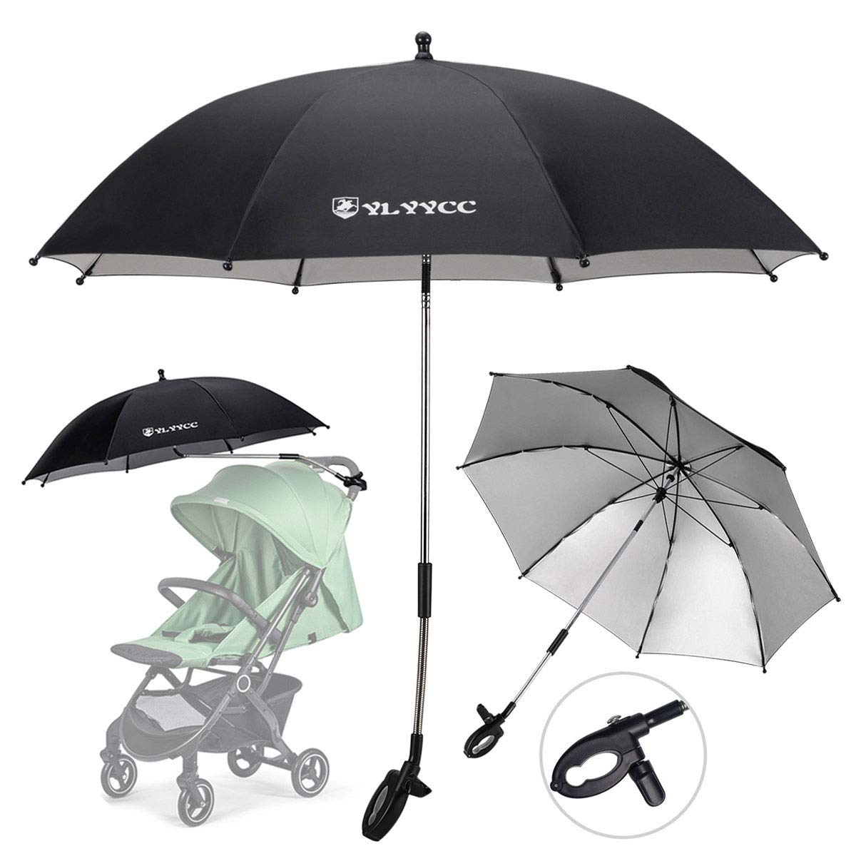 YLYYCC Baby Stroller Sun Shade/Stroller Umbrella/Uv Protection Umbrella 360 Degrees Adjustable Direction Stroller Accessories (Black-A) by YLYYCC
