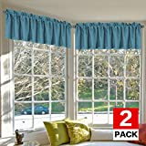 Cheap H.VERSAILTEX Bedroom Blackout Curtain Valances Elegant Rich Linen Window Curtain Valance for Living Room, 52 by 18 -Inch, Rod Pocket, Aegean Blue, 2 Panels