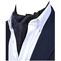 L04BABY Men's Black Floral Silk Cravat Self Ties Jacquard Woven Ascot