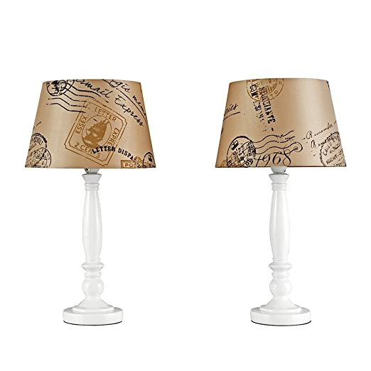 Pair of shabby chic traditional white spindle base and mocha brown vintage letter stamp design