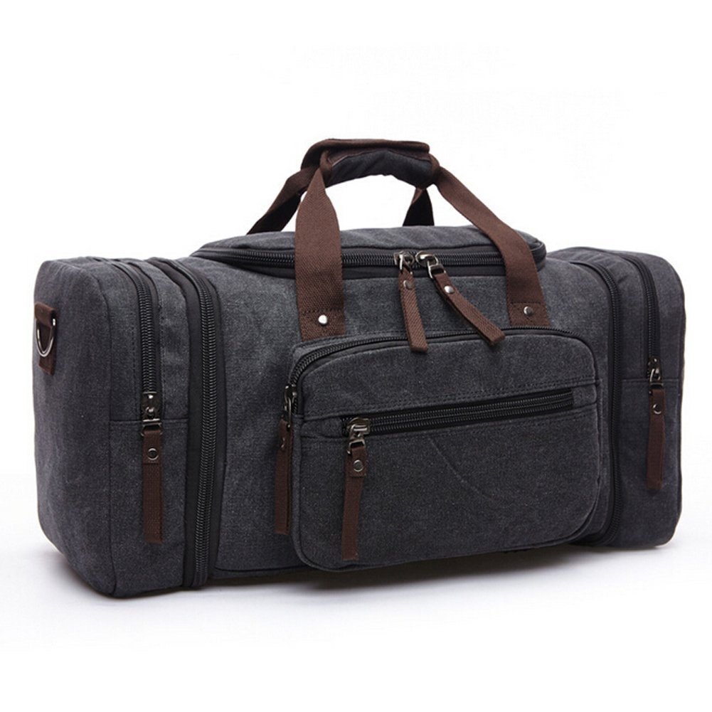 Toupons Canvas Travel Tote Luggage Men's Weekender Duffle Bag, Black