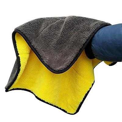 Yshtanj® Chiffon de nettoyage et d'entretien de voiture 1 serviette de nettoyage super épaisse chiffon de nettoyage de voiture cire outil de lavage serviette de séchage - Vert + gris Luminaires et Eclairage