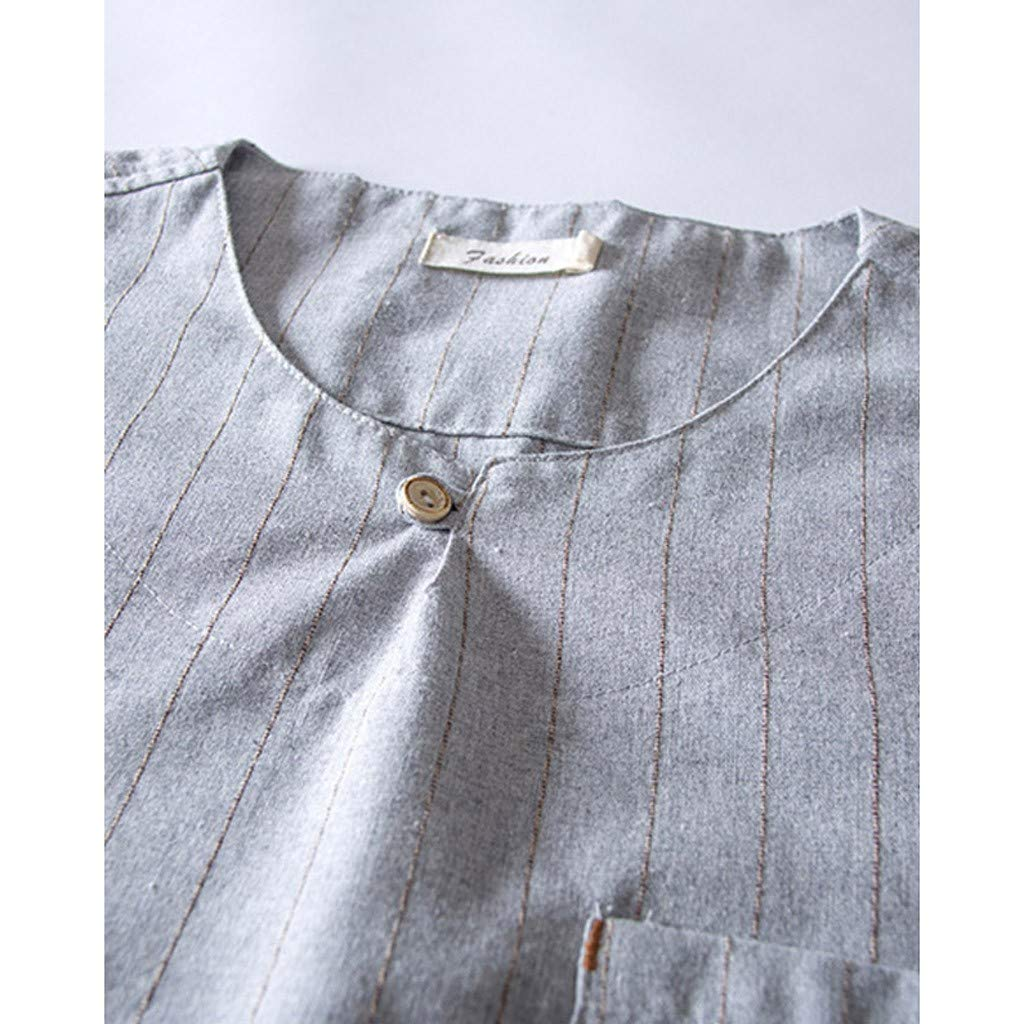 Swyss Mens Cotton Linen T-Shirt Stripe Printed Button-Down Short Sleeve Retro Casual Tee Tops with Pocket