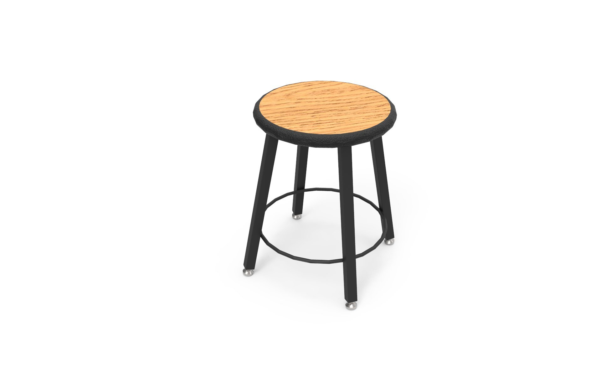 STL7186-AF-32 18 in. Fixed Four-Legged Square Tube Fully Welded Stool Bannister Oak Laminate - Lotz Armor Edge Seat