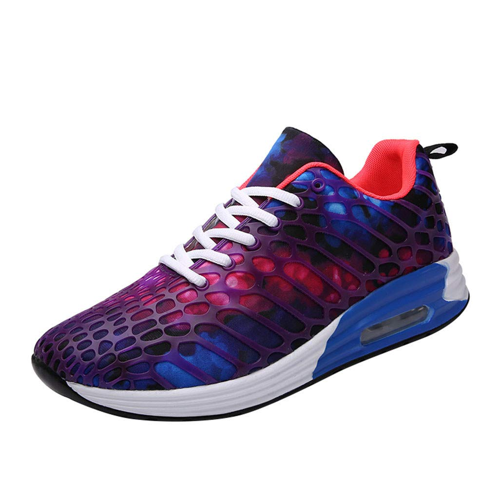 Air Cushion Shoes Couple Lacing Running Sneakers Mesh Fluorescent Color Lightweight Breathable Non-Slip