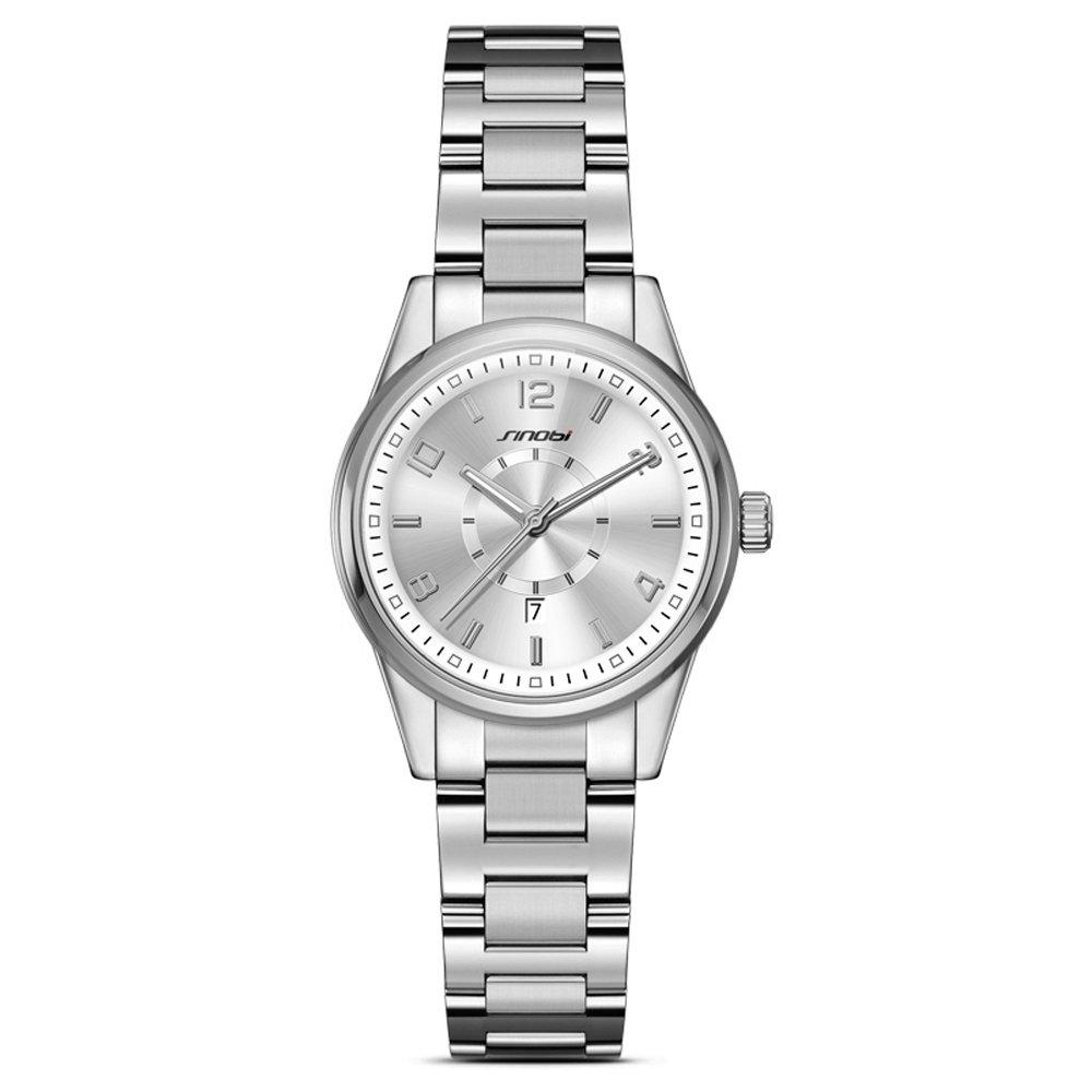 Women Easy Reader Date Expansion Watch Ladies Quartz Clock Female Bracelet Quartz Wrist Watch (Silver)