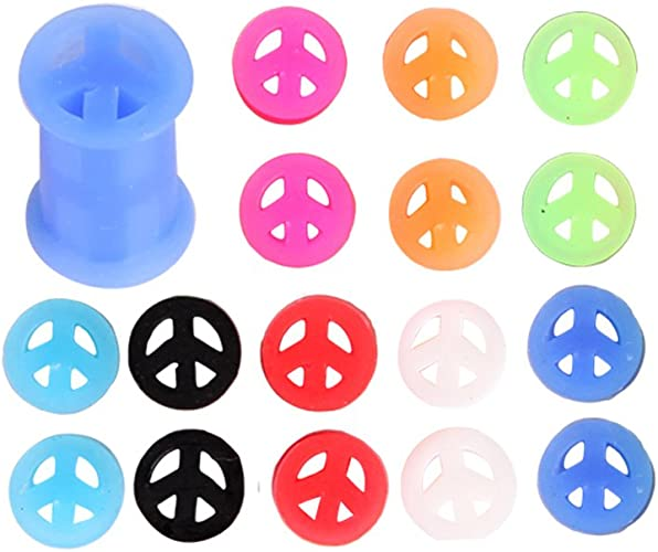 6mm Peace Flexible Silicone Flesh Tunnel Double Flared Ear gauges Plug 1 Pair 2g to 15//16 24mm