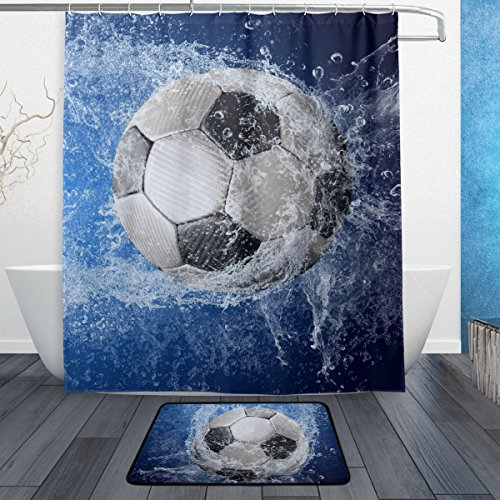 ALAZA Set of 2 Sports 60 X 72 Inches Shower Curtain and Mat Set, Soccer Ball Waterproof Fabric Bathroom Curtain and Rug Set with Hooks