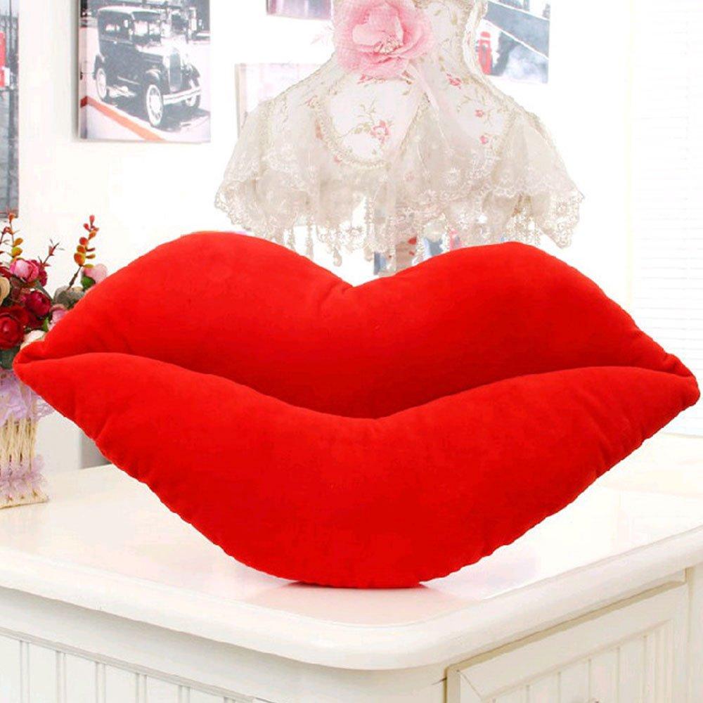 Rosepoem Amortiguar Almohada en Forma de Labio Linda 3 Tamaño Rosado Rojo Sofa Office