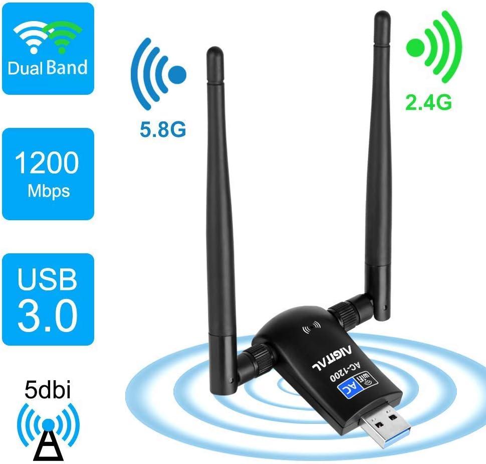 Aigital 1200Mbps WiFi Adapter Wireless Network Card Dual Band 5GHz/2.4GHz with High Gain 2 X 5dBi Antennas USB 3.0 WLAN Dongle for Desktop Laptop, Support Windows 10/8/7/XP/Vista/Mac OS X