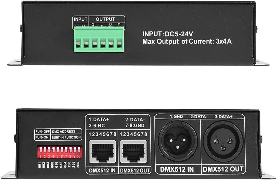 Controller f/ür Decoder 3 Kan/äle DMX 512 5 V ~ 24 V DC DMX512 Controller 4 A f/ür B/ühnenbeleuchtung