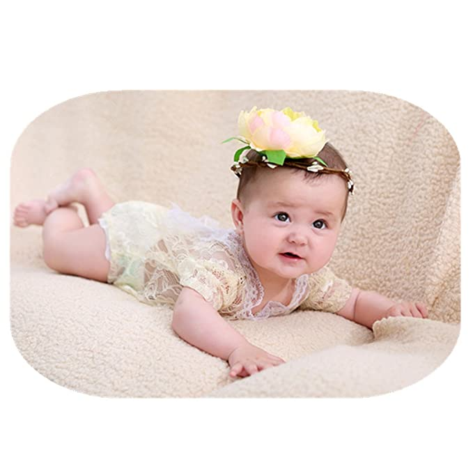 8083ddad06a Newborn Monthly Baby Photo Props Girls Lace Bow Vest Bodysuits Romper  Headband Photography Shoot (Beige