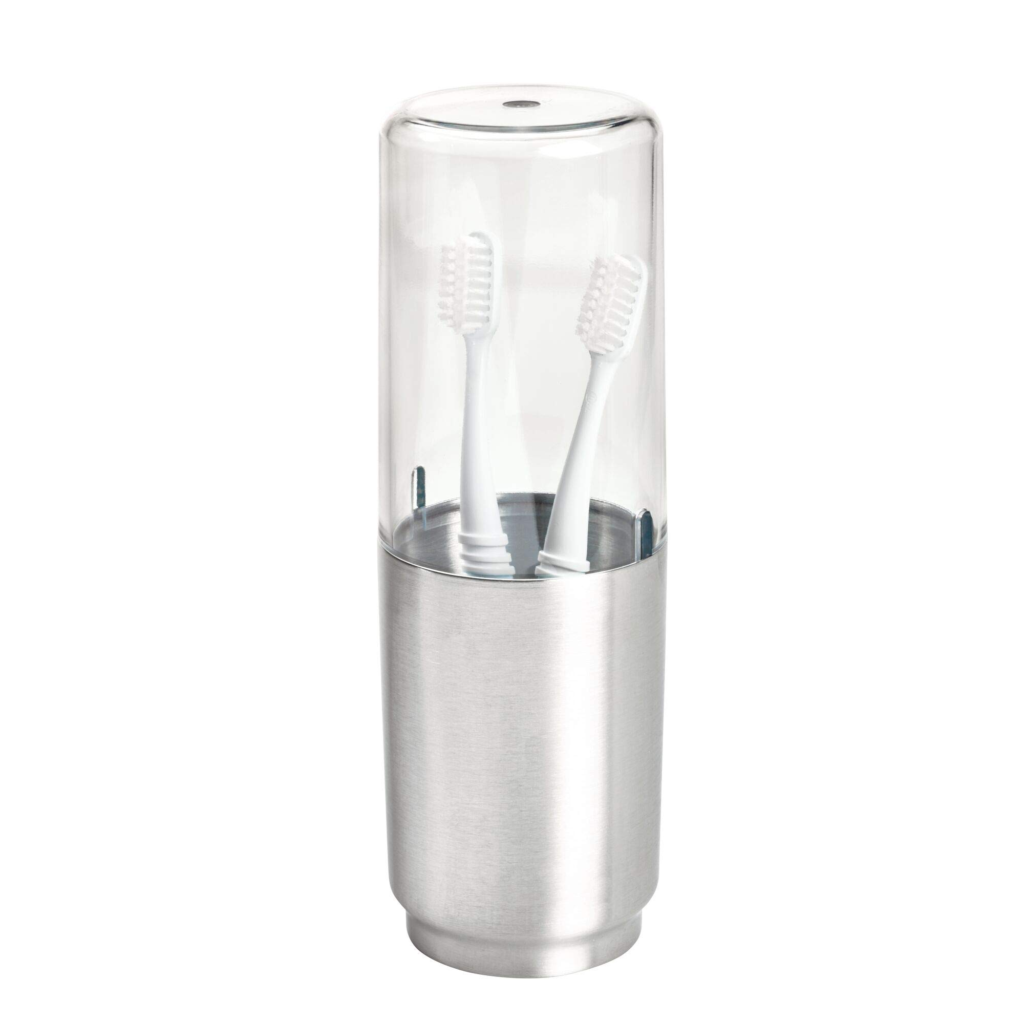 iDesign Austin Covered Toothbrush Holder, Holds Regular and Electric Toothbrushes - Clear Frost and Brushed by iDesign