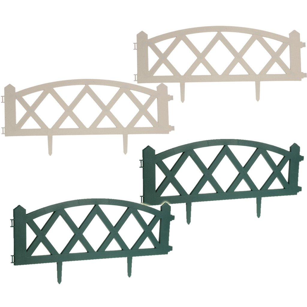 Garden Fence Fencing Edging Picket Grass Lawn Borders Panel Edge Landscape Path (12 Bridge White) Guaranteed4Less